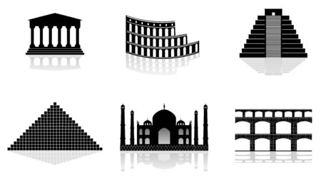 historical monuments vector illustrations