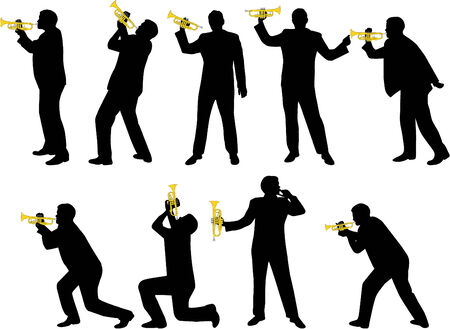 trumpet player silhouettes