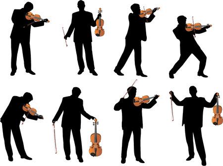 viool speler vector silhouet Vector Illustratie