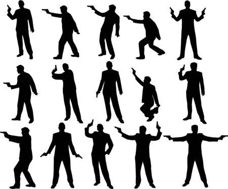 man with a gun silhouettes Ilustração
