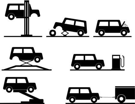 ikony wektora naprawy samochodu