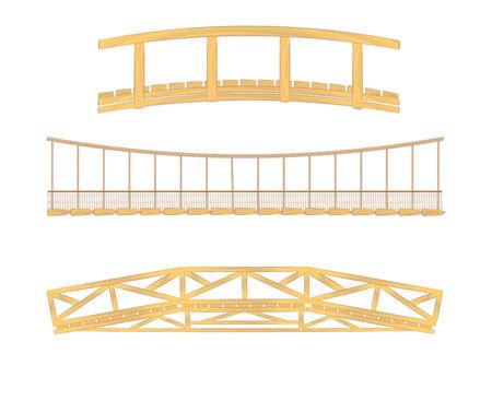 ilustraciones de vectores de puente de madera y colgantes