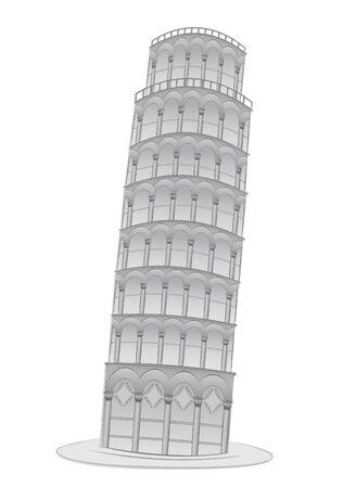 Leaning tower in Pisa  illustration Ilustração