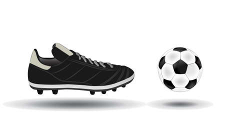 soccer shoe: soccer ball and shoes illustration  Illustration