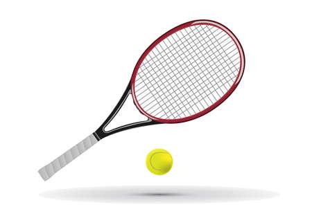 raqueta tenis: Ilustraci�n de raqueta y la pelota de tenis