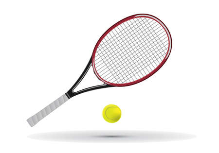 tennis racket: Tennis racket and ball illustration