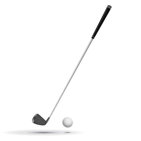Golf Ball and Club illustration, ball is detailed, with dimples and all the curves