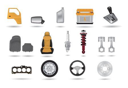 Car parts detailed illustrations set Ilustração