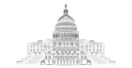 Ilustración de vector de esquema de Capitol hill