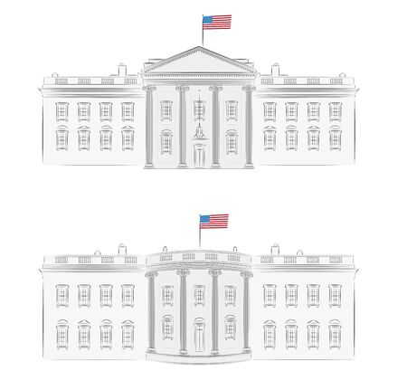 White House - detailed vector illustration of front and back, with american flag  Ilustração