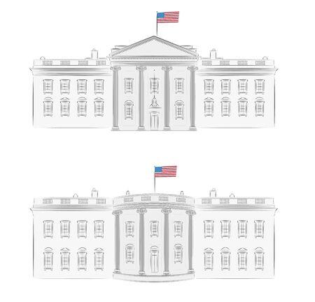 Casa Blanca - ilustración vectorial detallada de frente y atrás, con la bandera americana