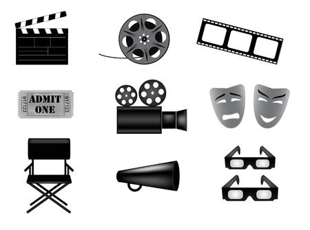 wektorowe ikony zestaw kina Ilustracje wektorowe