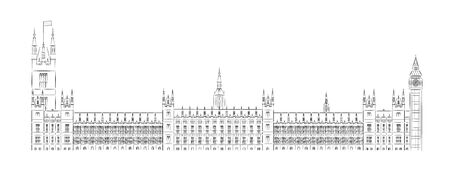 Big Ben und Houses of Parliament Vektor-Illustration