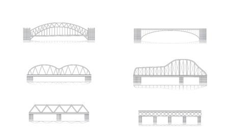 various bridge grayscale vector illustrations with shadows Ilustração