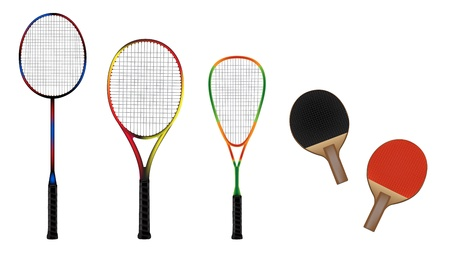 Badminton, tennis, squash and table tennis equipment color vector illustration