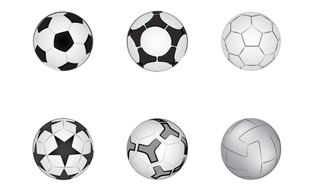 Soccer ball illustration format, multiple models and patterns