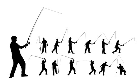Various silhouettes of a person fishing with a rod, vector format