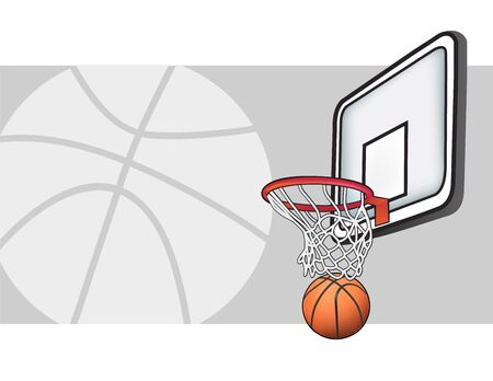 Illustration of basketball and hoop in vector format Illustration
