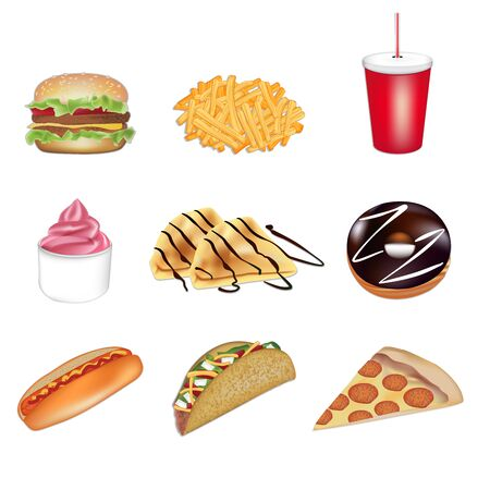 Fast food set of illustrations in vector format