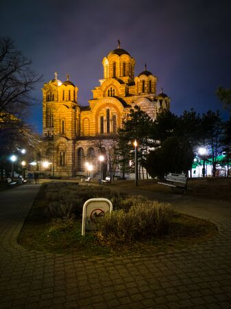 Exterior of the Saint Mark's Church (Crkva Svetog Marka), a Serbian Orthodox church located in the Tasmajdan park, built in 1940 in the Serbo-Byzantine style, at night. 写真素材