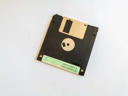 Floppy disk, object isolated on white background, outdated technology.
