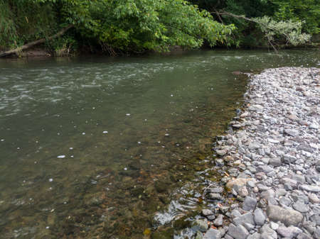 Landscape of rapids of river Ukrina with gravel beach and tree branches leaned over water Banque d'images