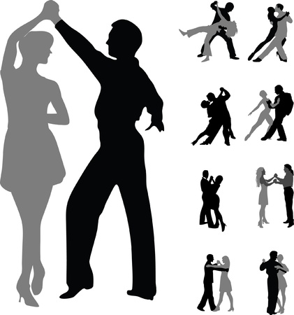 flamenco: dancing couples silhouette vector isolated