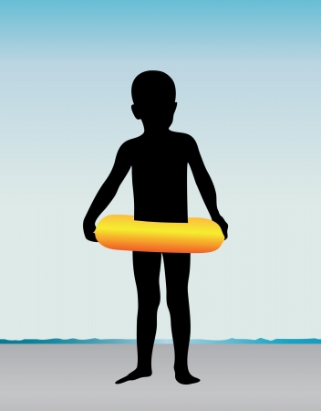 Little boy with the float at the seacoast Vector