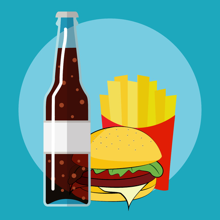 flat icon take away set, cola with burger and fries Illustration