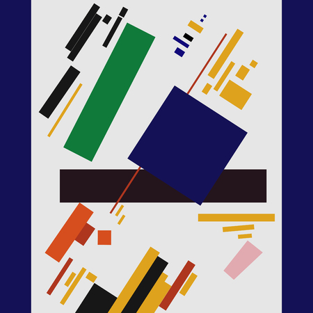 Malevich painting a blue square Illustration