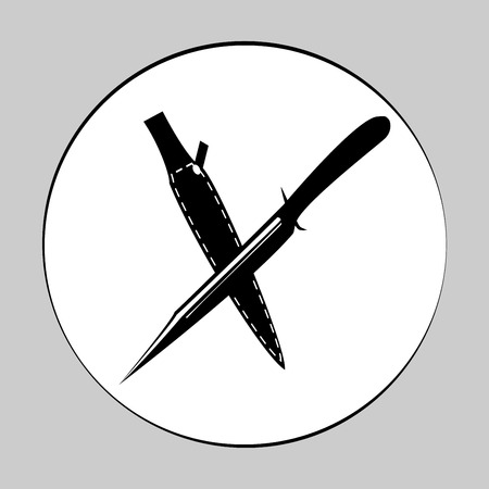 Two crossed hunting knives. Black on white flat vector illustration, element isolated on white background