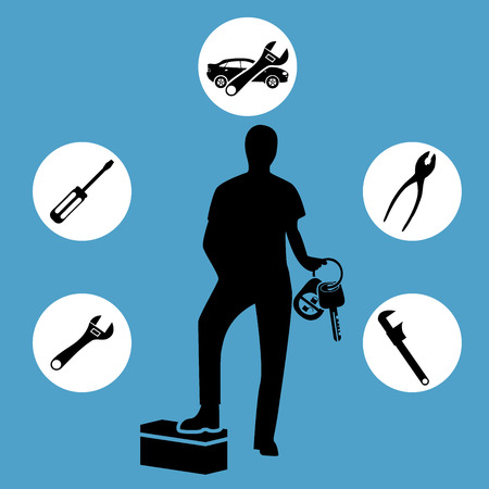 down under: Car mechanic on a blue background with a set of tools Illustration