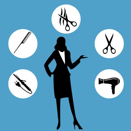 cut hair: Hairdresser icons. Scissors cut hair symbol. Comb hair with hairdryer sign. Flat icons on white. Vector
