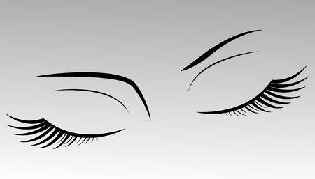 Wimpern auf einem grauen Hintergrund Vektorgrafik