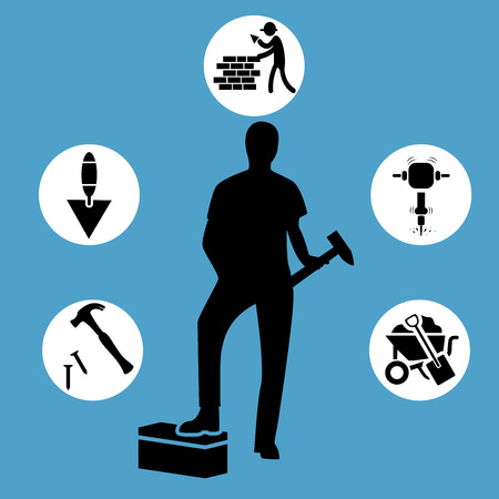Construction worker wearing red helmet and overall work clothes working with different tools. Set of six vector character design isolated on a blue background Illustration