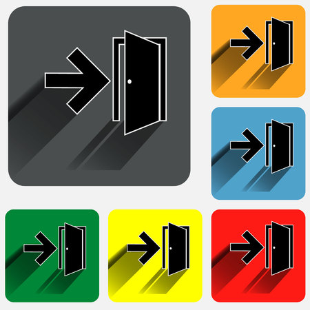 Exit sign icons on rounded square vivid color backgrounds.