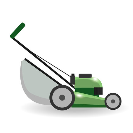 push mower: Lawn mower machine icon technology equipment tool, gardening grass-cutter - vector stock. Illustration
