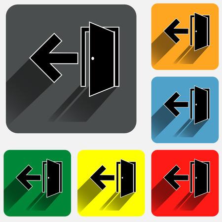 Iconos de la muestra de salida en cuadrados redondeados fondos de colores vivos.