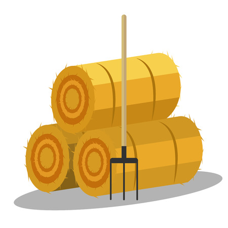 haymow: Flat dried haystack with hayfork isolated on whit background. Farming haymow bale hayloft ve?tor illustration