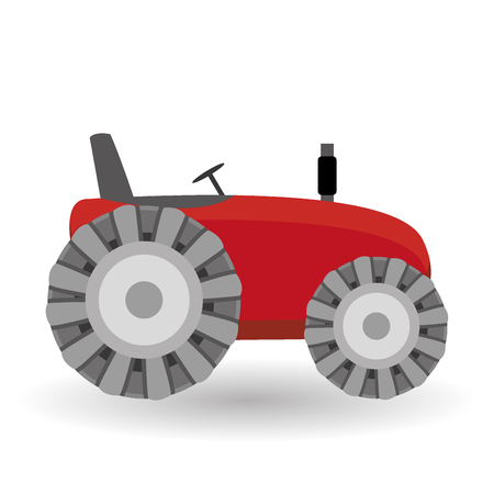 agronomics: Flat tractor on white background. Red tractor icon - vector illustration. Agricultural tractor - transport for farm in flat style. Farm tractor icon. Tractor icon vector illustration.