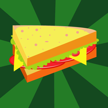 peppar: Ham and vegetable sandwich illustration