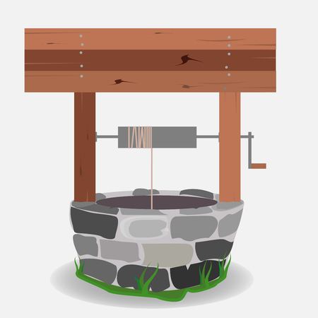 Stone And Wood Water Well/ Illustration of a cartoon stone and wooden water well, with rope and bucket Stock Illustratie