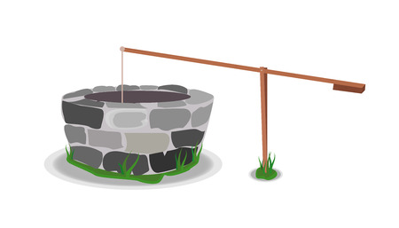 carpentry cartoon: Stone And Wood Water Well Illustration