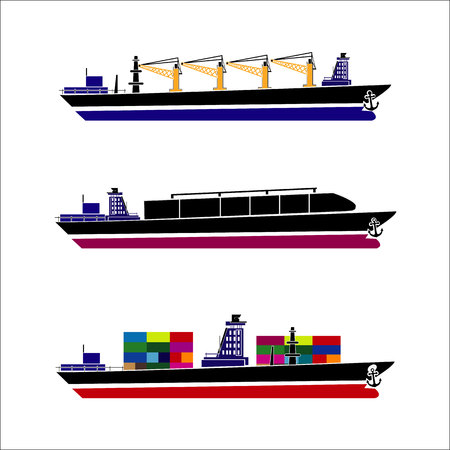 bulk carrier: Cargo ships. Oil tanker, bulk carrier, container ship. Commercial vessels. Goods delivering business industry. Freight ships side view isolated. Vector illustration Illustration