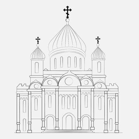 in monastery: Russian orthodox church icon isolated on white background. Vector illustration for religion architecture design. Christianity, cross, dome, golden cupola Famous temple moscow chapel landmark monastery