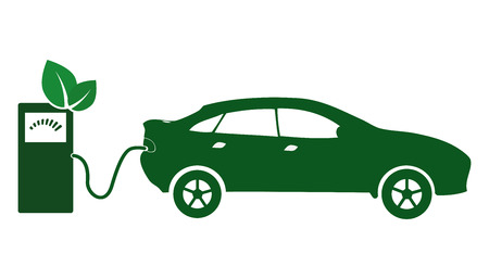 Electric car icon Vector Illustration. Side view of electric car and charging station