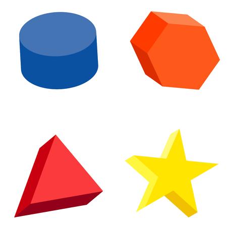 platon: Illustration of colorful set of geometric shapes and platonic solids.