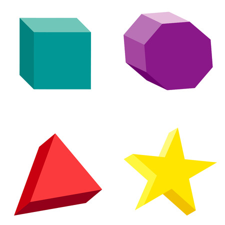 solids: Illustration of colorful set of geometric shapes and platonic solids.