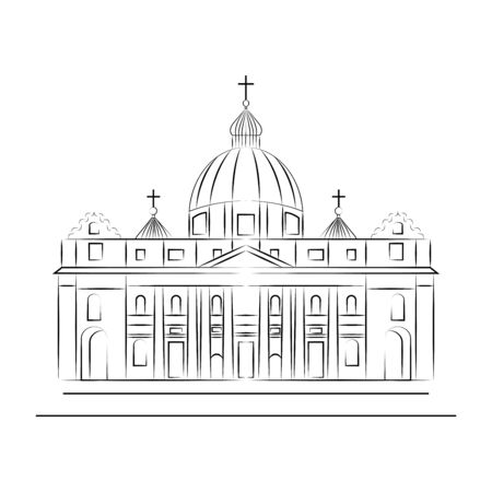 St. Pauls Cathedral, London landmark Illustration. Illustration