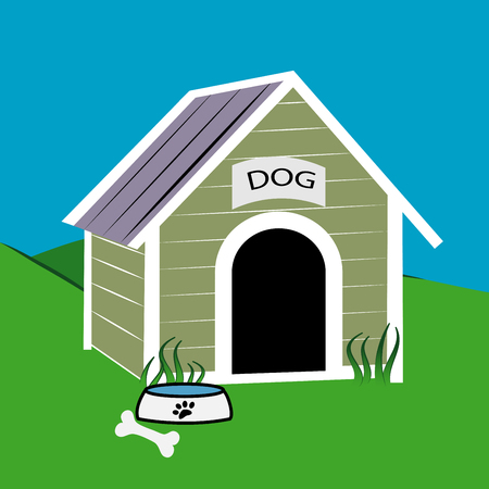 doghouse: cute dog house with dog food bowl and bone Illustration